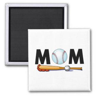Mamá del béisbol imán cuadrado