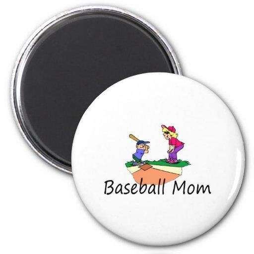 Mamá del béisbol imán para frigorifico