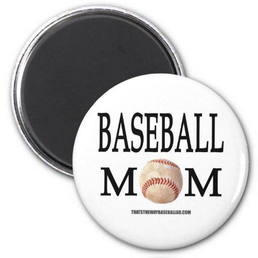 Mamá del béisbol imán redondo 5 cm
