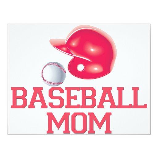 """Mamá del béisbol invitación 4.25"""" x 5.5"""""""