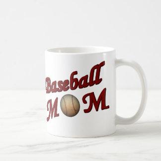 Mamá del béisbol linda taza básica blanca