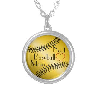 Mamá del béisbol No.1 Collar Plateado