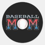Mamá del béisbol pegatinas redondas