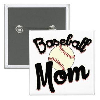 Mamá del béisbol pin cuadrada 5 cm