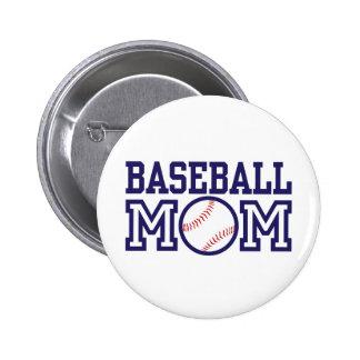 Mamá del béisbol pin redondo de 2 pulgadas
