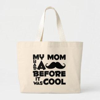 Mamá del bigote bolsa tela grande