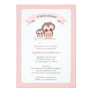 Mamá del búho y invitación rosadas de la fiesta de