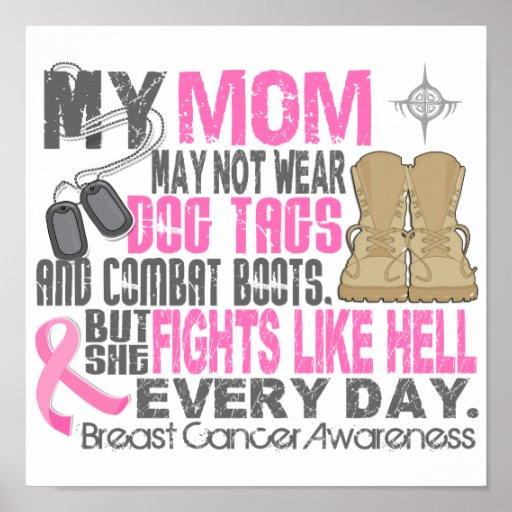 Mamá del cáncer de pecho de las placas de identifi póster