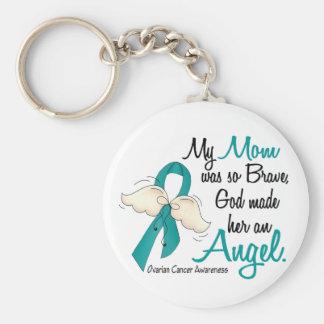 Mamá del cáncer ovárico del ángel 2 llavero redondo tipo pin