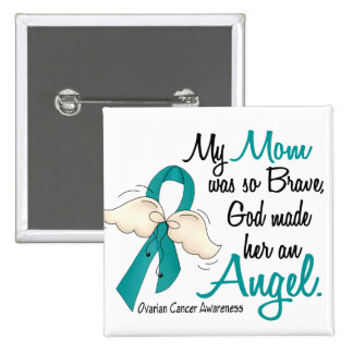 Mamá del cáncer ovárico del ángel 2 pin cuadrada 5 cm