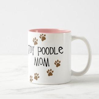 Mamá del caniche de juguete taza de café de dos colores