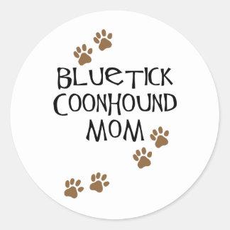 Mamá del Coonhound de Bluetick Pegatina Redonda