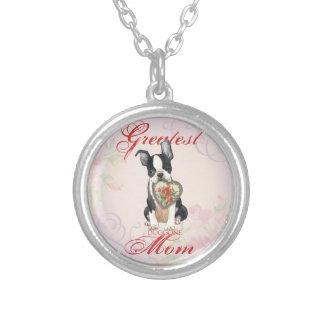 Mamá del corazón de Boston Terrier Colgante Redondo
