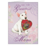 Mamá del corazón de bull terrier tarjeta de felicitación