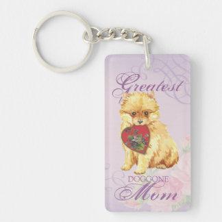 Mamá del corazón de Pomeranian Llavero Rectangular Acrílico A Doble Cara