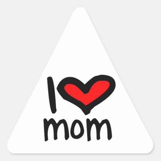 ¡Mamá del corazón I - mamá del amor de I! Calcomanías Triangulos