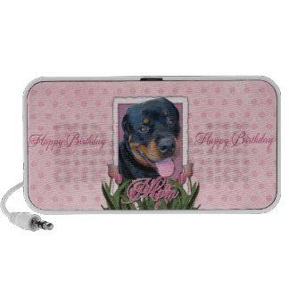 MAMÁ del cumpleaños - tulipanes rosados - Rottweil Laptop Altavoz