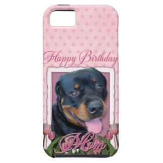 MAMÁ del cumpleaños - tulipanes rosados - Rottweil iPhone 5 Funda