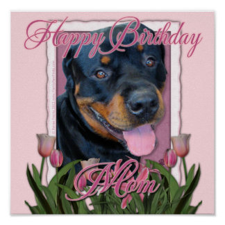 MAMÁ del cumpleaños - tulipanes rosados - Rottweil Posters