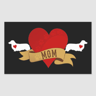 Mamá del Dachshund [estilo del tatuaje] Pegatina Rectangular