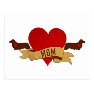 Mamá del Dachshund [estilo del tatuaje] Tarjetas Postales