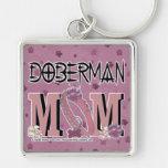 MAMÁ del Doberman Llavero Cuadrado Plateado