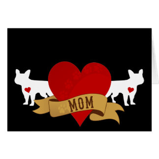 Mamá del dogo francés [estilo del tatuaje] tarjeta de felicitación