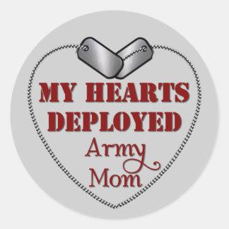 Mamá del ejército, mis corazones desplegados pegatina redonda
