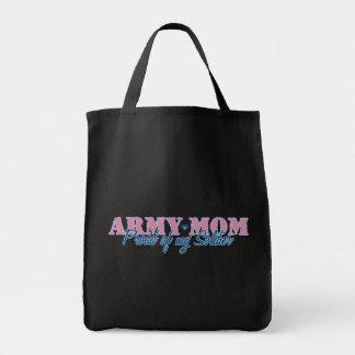 Mamá del ejército orgullosa de mi soldado bolsa tela para la compra