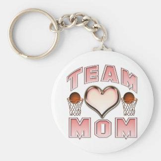 Mamá del equipo de baloncesto llavero redondo tipo pin