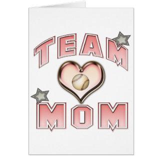 Mamá del equipo de béisbol tarjeta de felicitación