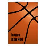 Mamá del equipo de las gracias, baloncesto, ayudan felicitacion