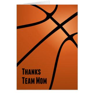 Mamá del equipo de las gracias, baloncesto, tarjeta de felicitación