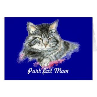 Mamá del fect del ronroneo para el amante del gato tarjeta pequeña