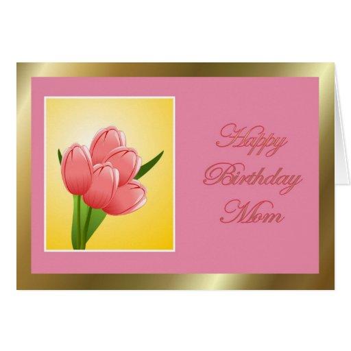 Mamá del feliz cumpleaños con el tulipán tarjeta de felicitación