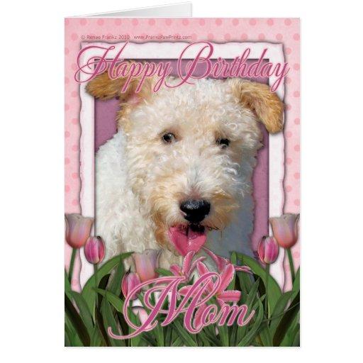 Mamá del feliz cumpleaños - fox terrier del tarjeta de felicitación