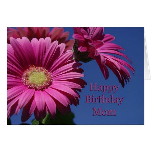 Mamá del feliz cumpleaños - Gerbera rosado Tarjeta De Felicitación