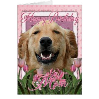 Mamá del feliz cumpleaños - golden retriever - tarjeta de felicitación