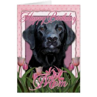Mamá del feliz cumpleaños - Labrador - negro - Tarjeta De Felicitación