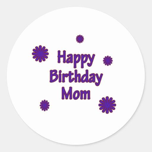 Mamá del feliz cumpleaños pegatina redonda