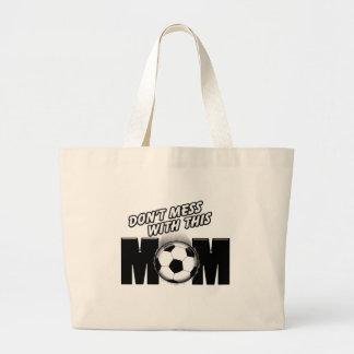 Mamá del fútbol bolsa tela grande