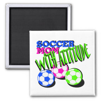 Mamá del fútbol con actitud imán cuadrado