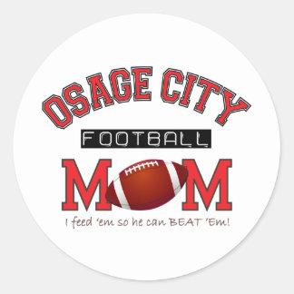 MAMÁ del fútbol de la ciudad de Osage Pegatina Redonda