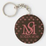 Mamá del fútbol del diseñador (marrón/rosa) llaveros