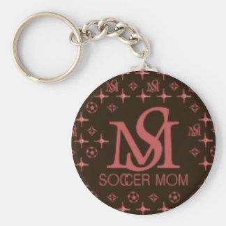Mamá del fútbol del diseñador (marrón/rosa) llavero redondo tipo pin