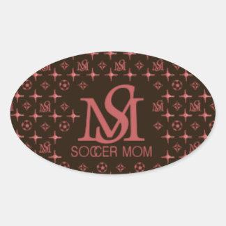 Mamá del fútbol del diseñador (marrón/rosa) calcomania óval personalizadas