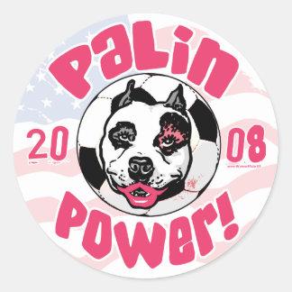 Mamá del fútbol del poder de Palin Pegatina Redonda
