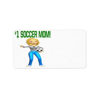 Mamá del fútbol etiquetas de dirección