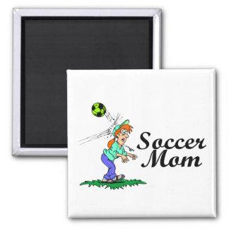 Mamá del fútbol imán cuadrado