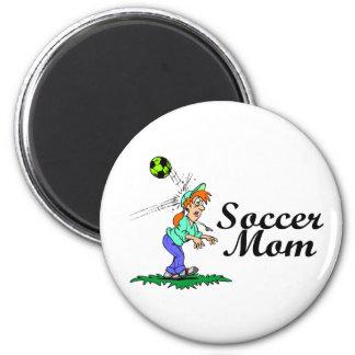 Mamá del fútbol imán redondo 5 cm